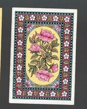 Playing  Cards 1 ANTIQUE SQ CNR PINK FLOWERS & WHITE DAISY BORDER  SQ40  C1800'S