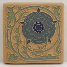 4x4 Arts & Crafts Tudor Rose Tile in Teal by Arts & Craftsman Tileworks