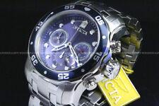 NEW Invicta Men 48 MM Pro Diver Scuba Blue Dial Chronograph S.S Bracelet Watch