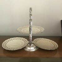 Vintage Silver Plate 3 Tier Folding Serving Tray