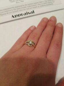 14kt yellow gold with Diamonds Keepsake  Ring  Size 6 LOT G19