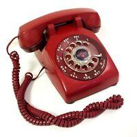 Vintage Rotary Telephone Dark Red Dial Desk Phone Bell System Works Western Elec
