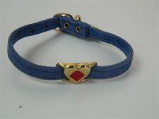 Collare cani Azzurro con cuore dorato rombo rosso 27 cm 9 mm M244