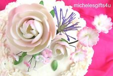 Lavender White Hint Pink Flowers Sugar Gum Paste Peony Blossoms Cake Decorating