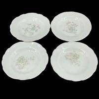 Set of 4 Vintage LS & S Carlsbad Austria Butter Pats White with Pink Blue Flower