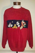 Disney Mickey Minnie Goofy Pluto Embroidered Fleece Sweater size L