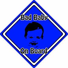 Bad Baby/Child On Board Car Sign ~ Baby Face Silhouette ~ Neon Dark Blue