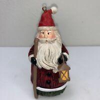 "Santa Claus Lantern Staff Folk Art Christmas Ornament Resin 4 1/2"" Tall"