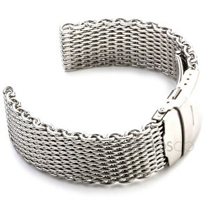Shark Mesh Stainless Steel Watch Band Strap 18mm 20mm 22mm 24mm