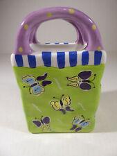 Ganz Bella Casa Butterfly Ceramic Basket Vase Shaped Like Bag Pencil Holder EUC