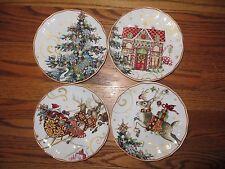 4 Williams Sonoma Twas Night Before Christmas Gingerbread Tree Santa salad plate