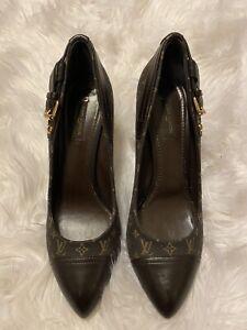 LOUIS VUITTON Pumps Shoes Brown Monogram Vintage MA 0142