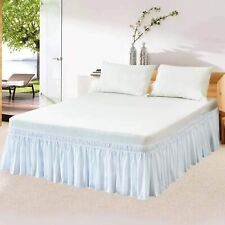 14'' 16'' 18'' Drop Bed Skirt Dust Ruffle Wrap Around Bed White Queen/King Size