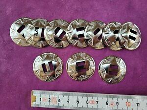 10  x   Conchos Conchas Western  , rund , Blech