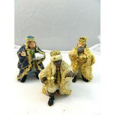 Tris Re Magi in Terracotta Cm 8 con Vestiti di Stoffa Natività Pastori Presepe