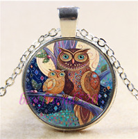 Owl Family Photo Cabochon Glass Tibet Silver Chain Pendant Necklace