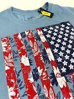 Daniel CREMIEUX American Flag Floral T Shirt - Blue TEE - XL - NEW