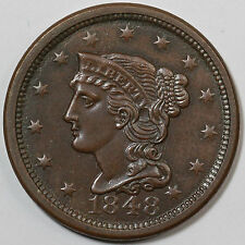 1848 N-20 R-3- EDS Braided Hair Large Cent Coin 1c Ex; Jules Reiver