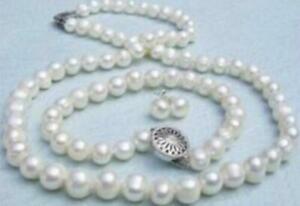 echte 7-8mm weiße Perlenkette Armband & Ohrringe Set