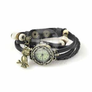 Armband Uhr Leder schwarz mit EULE Anhänger - ungetragen