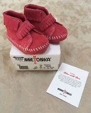 New Minnetonka Front Strap Fringe Bootie 1121, Hot Pink, Infant Size 2