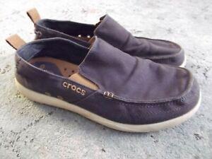 Crocs Walu Mens Blue Canvas SlipOn Casual Shoes Mens Size 12