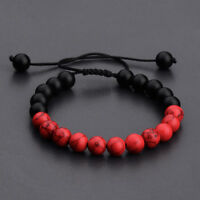 New Man's Yoga Red Turquoise Matte Agate Beaded Bracelets Mala Energy Bracelets