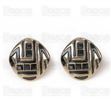 RETRO black/gold fashion CUSHION SQUARE CLIP ON EARRINGS geometric clips UK GIFT