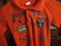 Vtg Ferrari Racing Pit Crew Boys Shirt Patches Graphics Hot Orange Thin 8