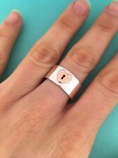 Tiffany & Co Silver & 18K Rose Gold Heart Locks Keyhole Wide Ring. Size 7. Rare