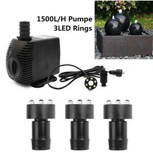 1500l/h Springbrunnen Pumpe SP3 mit 3 LED Ring Beleuchtung Springbrunnen pumpe