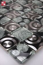 Glasmosaik Edelstahl Mosaik Mosaikfliesen Mosaike Curley Glas Schwarz Silber Neu