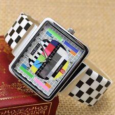Unique Rectangle TV Dial Leather Women Men Gifts Sport Quartz Wrist Watch Gifts