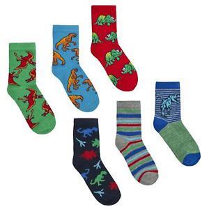 Childrens 3 Pack of Cotton Rich Dinosaur Design Socks