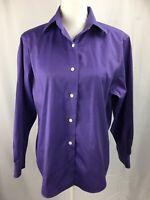 Talbots Women Sz 8 Purple Button Down Shirt Wrinkle Resistant Long Sleeve Cotton