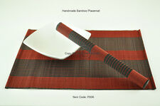 4 Bamboo Placemats Handmade Table Mats, Bordeaux Red - Black, P006