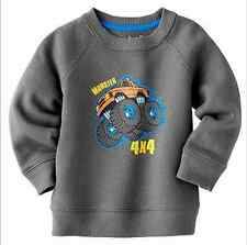 Jumping Beans Baby Boys Fleece Sweatshirt Sweater 12M 12 Months NWT Grey Truck
