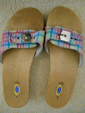 DR. SCHOLL'S VINTAGE WOODEN EXERCISE SANDALS~SZ9~PLAID~GENTLY WORN~SHIPS FAST!!