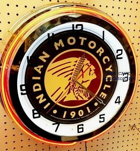 "19"" INDIAN Motorcycle Since 1901 Sign Double Neon Clock"