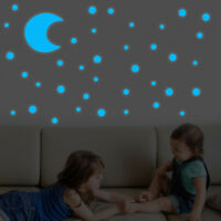 Round Dot Star Moon Luminous Glow In Dark Star Wall Stickers Kids Room Decor US