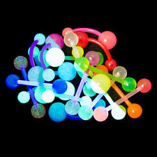 20pcs Glow Flexible Body Jewelry - 14ga Bioflex/Acrylic Belly and Straight Bars