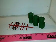 1/64 red Standi Toys 6 round bale mover cart w/ hay bales Ertl Farm Toy display