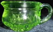 Green Vaseline glass Chamber pot toilet toothpick / match holder uranium Canary