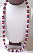 PATRIOTIC RED WHITE BLUE BEADED NECKLACE LUCITE SAUCER SHAPE TRIFARI W TAG
