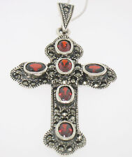 "Marcasite Sterling Silver Oval Garnet Bezel Set 2.40"" Large Cross w/ Chain"