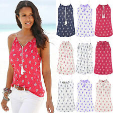 UK Womens Sleeveless V Neck Vest T-Shirt Ladies Summer Beach Tank Tops Blouse