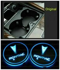 2x LED Car Cup Bottle Holder Pad Mat for Pontiac Auto Atmosphere Lights Colorful