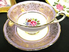 PARAGON TEA CUP AND SAUCER LAVENDER TEACUP COLOR GOLD GILT ROSE