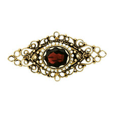 Vintage 14k Yellow Gold 2.80ct Oval Garnet & Pearl Open Marquise Bar Brooch Pin