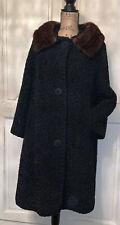 Vintage Hochschild Kohn Astrakin Curly Persian lamb coat Mink fur collar Coat Lg